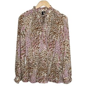 Bellatrix Feather Ruffle Long Sleeve Blouse Size S
